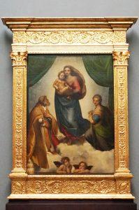 Madonna Sistina, olio su tela con verde malachite